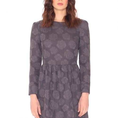 Vestido de manga larga y de color gris oscuro con rosas en color gris clarito