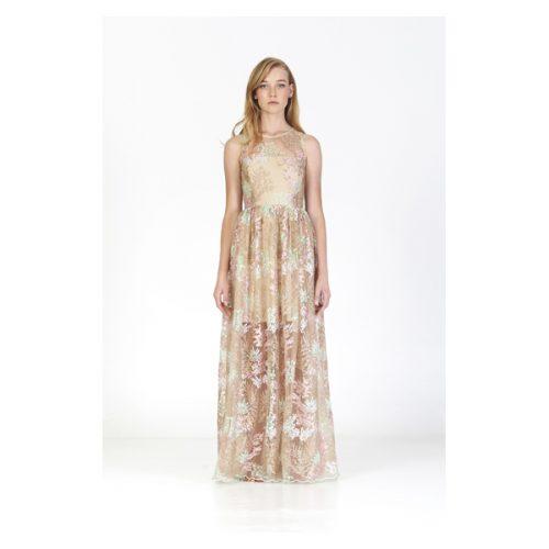 Vestido largo de color crema con encaje de como tul y estampado de flores