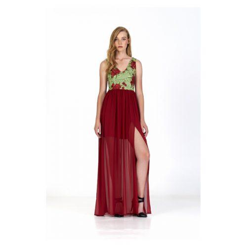 Vestido largo con falda de color granate y cuerpo en color verde y flores de color granate