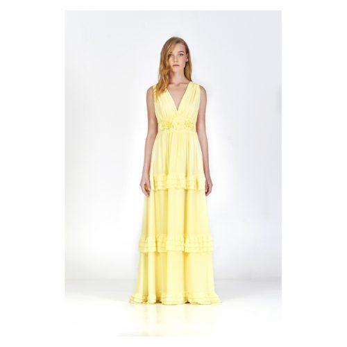 Vestido largo de color amarillo con espalda en pico y escote en pico
