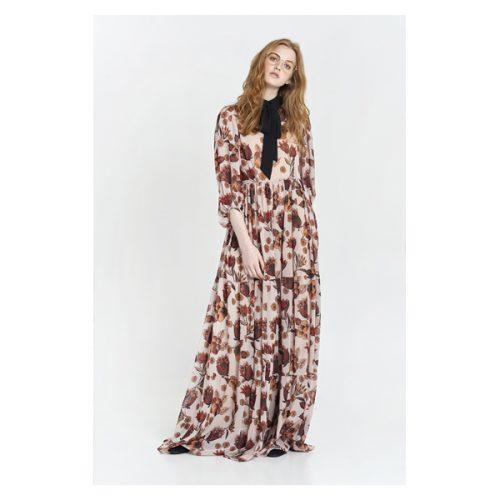 vestido largo con estampado otoñal y lazada en el cuello