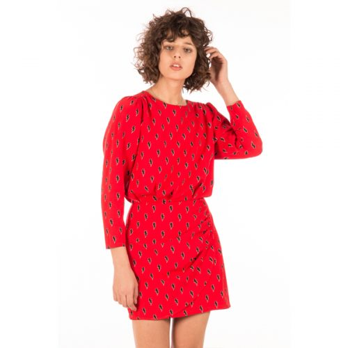vestido manga larga rojo con estampado rayos pequeños de minueto