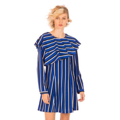 vestido manga larga de rayas azul, negro y blanco de la firma minueto
