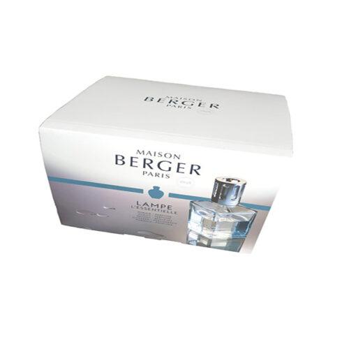Cofre L'Essentielle con lámpara catalítica transparente cuadrada y perfume Vent D'Ocean y líquido Air Pure de Maison Berger Paris