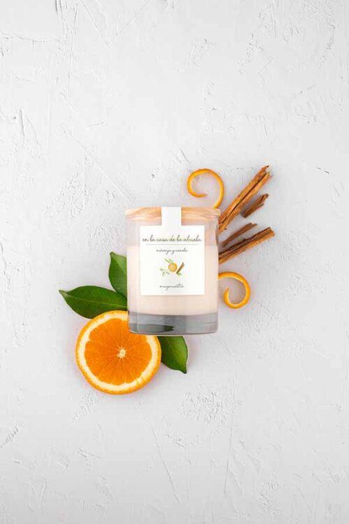 Vela perfumada aroma canela y naranja