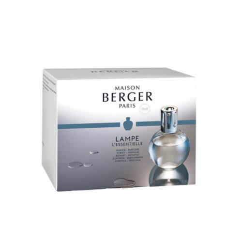 Cofre L'Essentielle con lámpara catalítica transparente redonda y perfumes Caresse de Cotton y Air Pure de Maison Berger